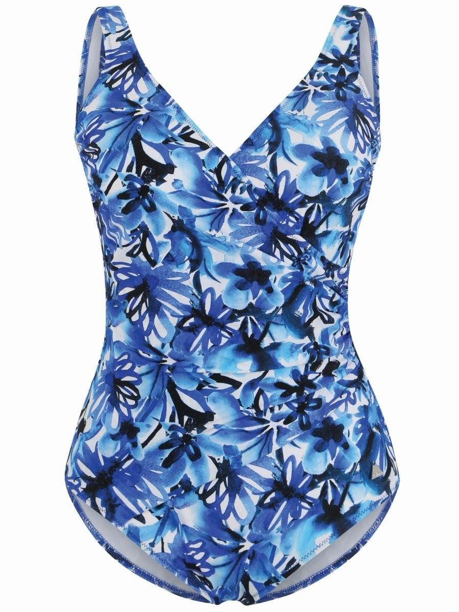 Felina Badeanzug mit Schale V-Ausschnitt 5206284 Riviera Flower navy flower